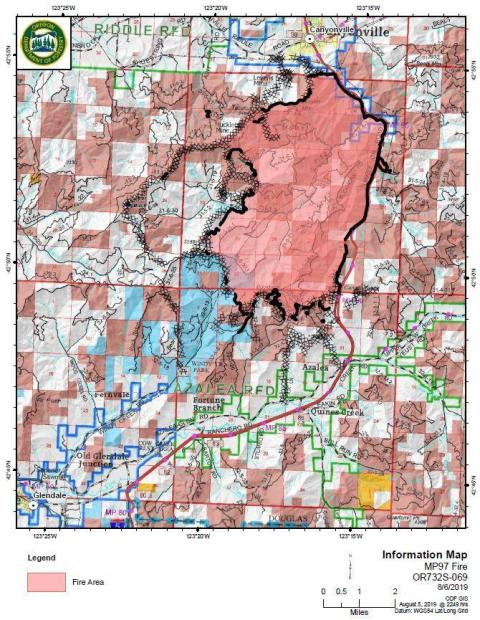 Milepost 97 Fire Information Map 8-6-19