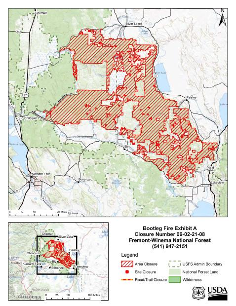 Bootleg Fire USFS Closure Map for Public Lands. Exhibit A for Closure Order 06-02-21-08