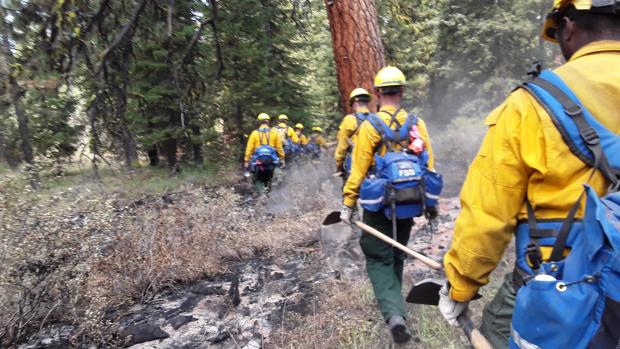 Fire Crew Hiking In on 8-6-2021