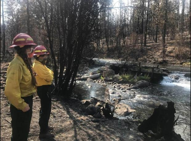 As part of the BAER (Burned Area Emergency Response) effort, hydrologists evaluate potential post-fire flooding.