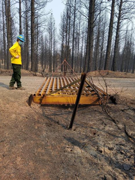 Engineers assessed the wooden base of cattleguards in moderate to high burn severity areas to ensure that it was still intact and could support vehicle traffic.