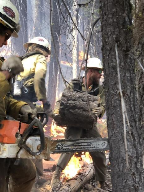 Firefighters use chainsaws and muscle power to remove fuels.