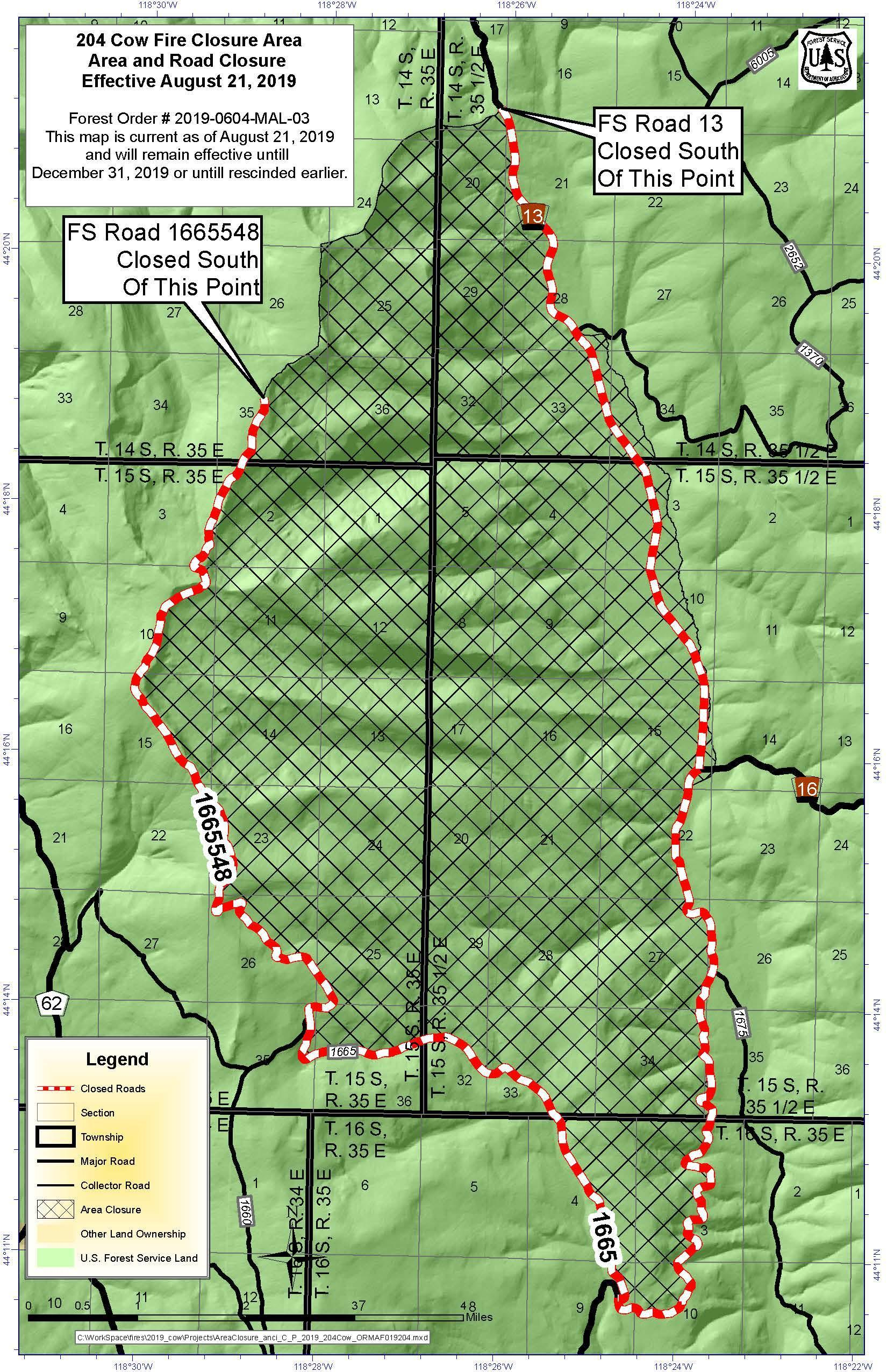 Cow Fire Area Closure Map - InciWeb the Incident Information