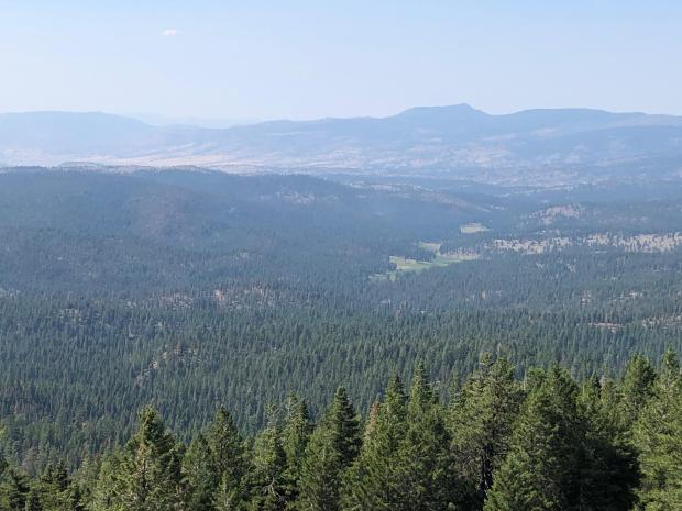Image taken from Flagtail lookout looking in the direction of Murderers Creek 6 prescribed fire operation.