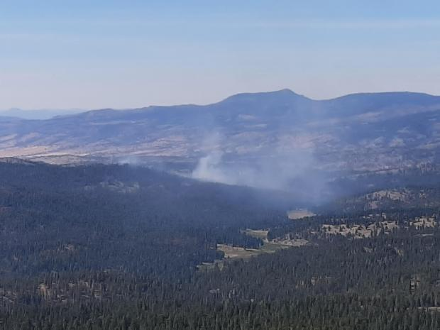 Image of smoke rising from the Murderers Creek 6 prescribed fire area.