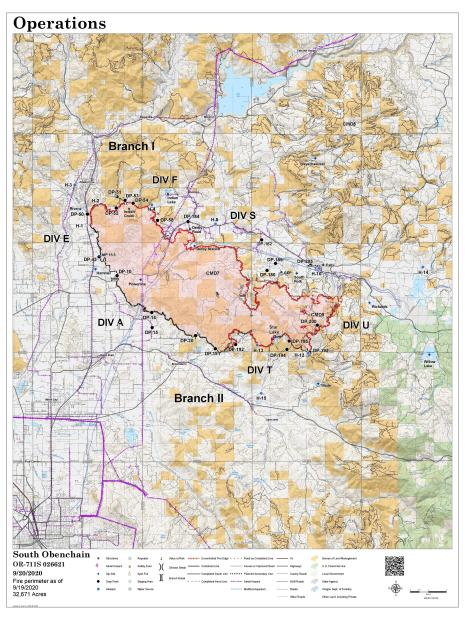 Perimeter map for September 21, 2020. 32, 671 acres and 65% contained.