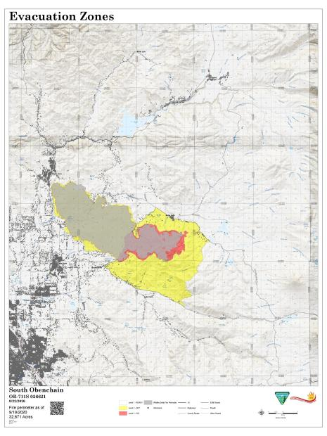 Evacuation map with fire perimeter map as of September 22, 2020