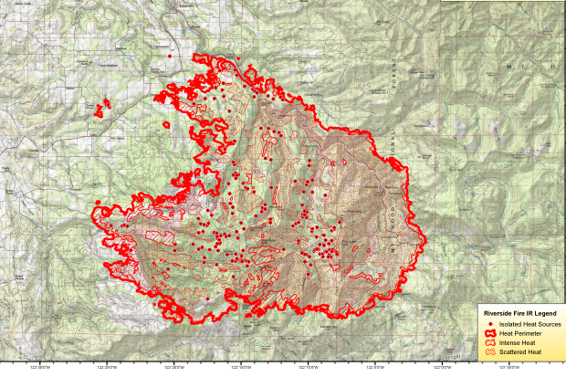Infrared flight map showing fire at 120,000 acres on September 10, 2020.