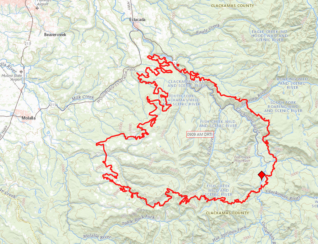 Infrared flight map showing fire at 112,000 acres on September 9, 2020