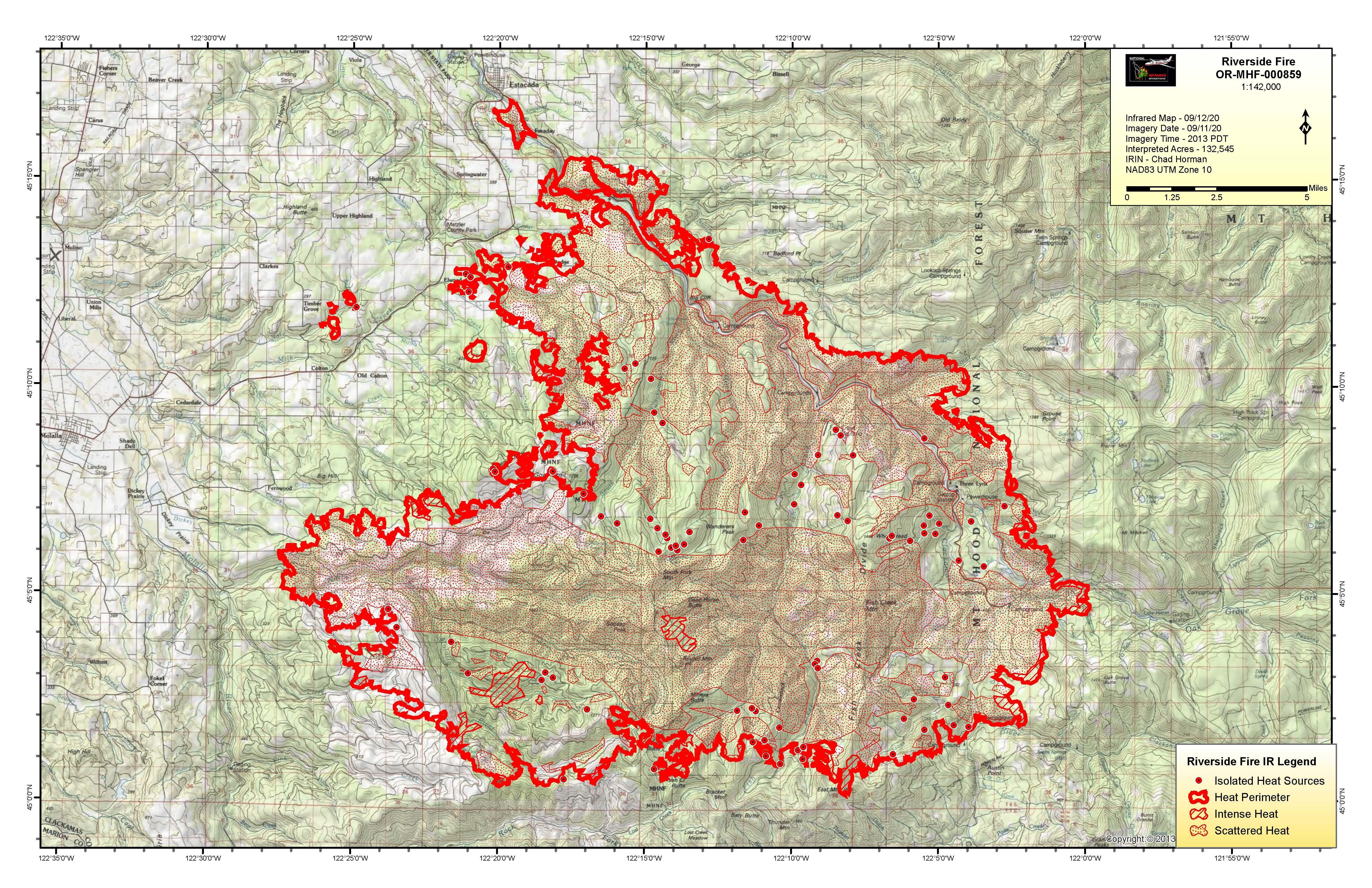 Infrared flight map showing fire at 130,052 acres on September 12, 2020.