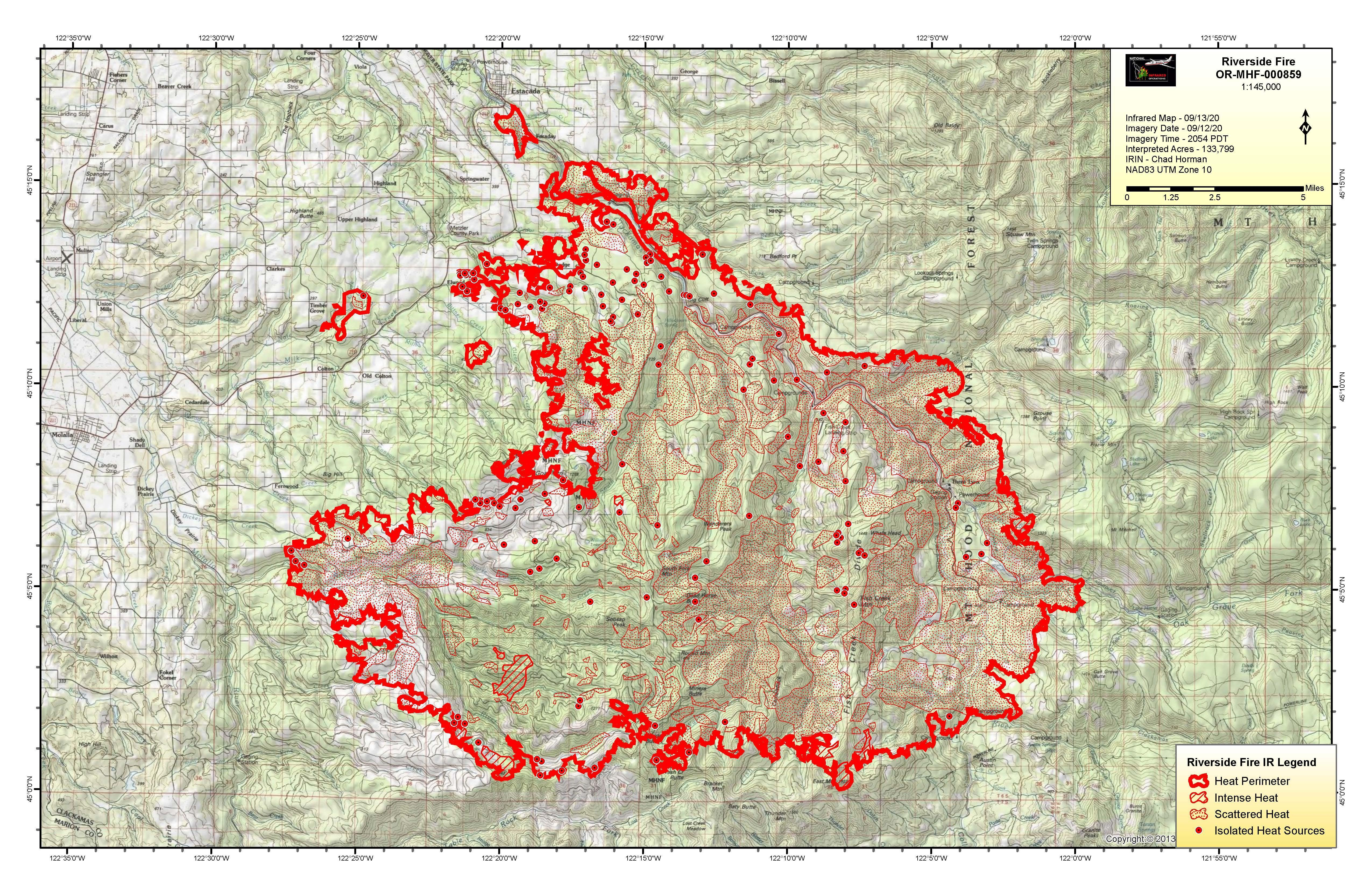 Infrared flight map showing fire at 130,526 acres on September 13, 2020.