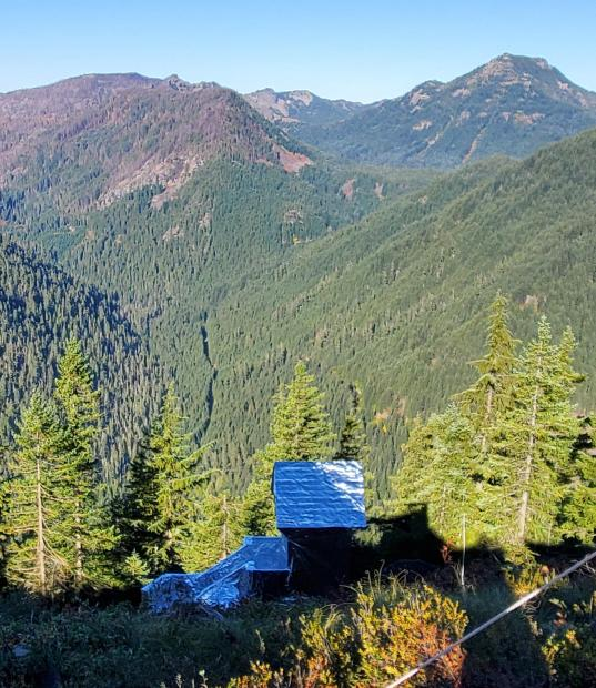 Gold Butte Lookout outhouse on Sept 24