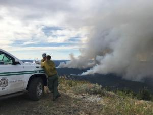 Firefighters Tuesday afternoon monitoring Canyon 66 Rx