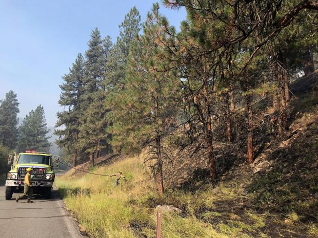 Firefighters patrol FR22 following burning operations to mitigate any hazards