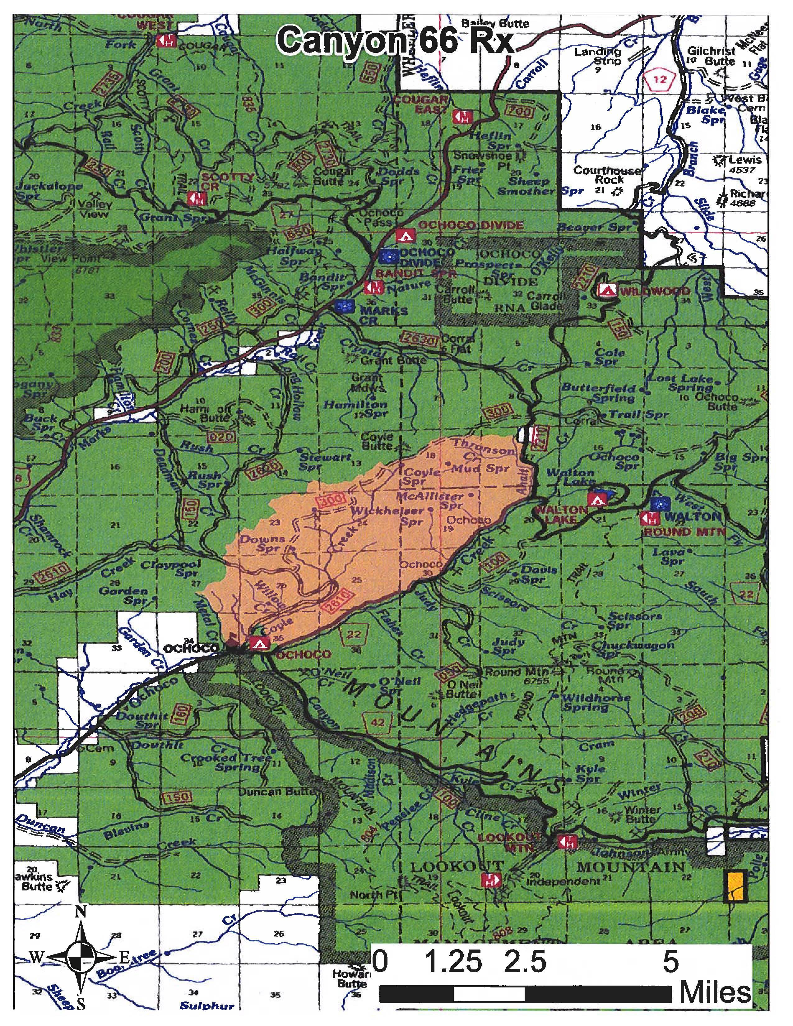 A map of the 5,072 acre Canyon 66 prescribed burn unit