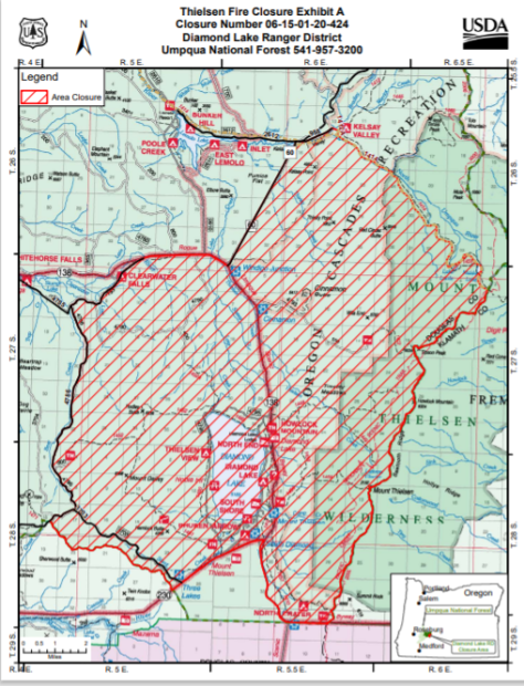 Umpquat National Forest areas closed due to Thielsen Fire