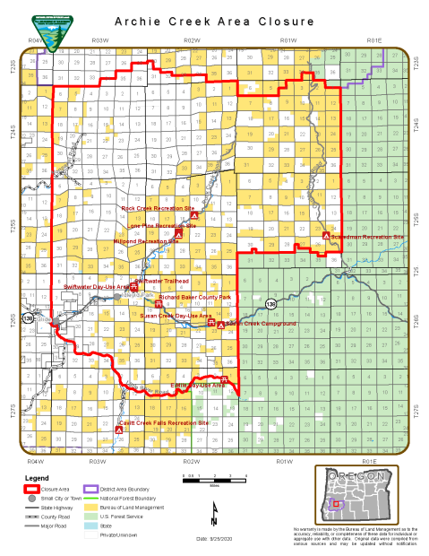 Map showing BLM-managed lands that are closed due to the Archie Creek Fire