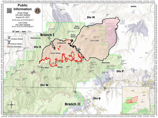 August 20 map showing the perimeter of the Green Ridge and Lick Creek Fires