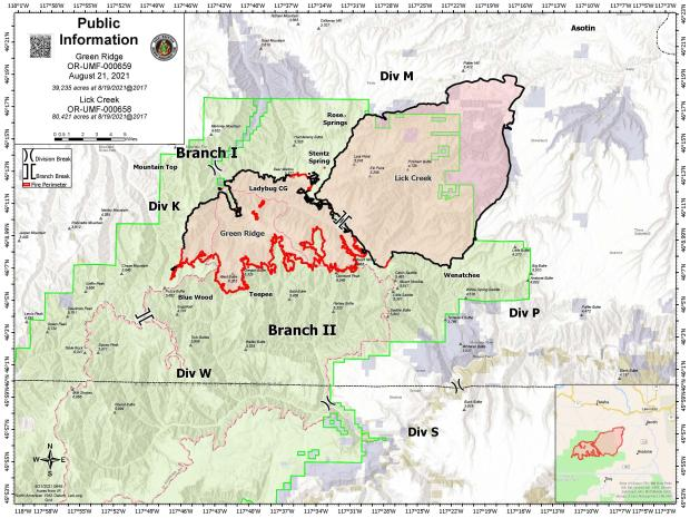 August 21 map showing the perimeter of the Green Ridge and Lick Creek Fires