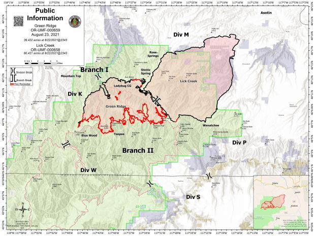 August 23 map showing the perimeter of the Green Ridge and Lick Creek Fires