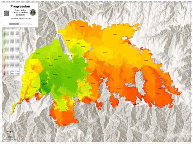 A map showing daily fire growth of the Green Ridge and Lick Creek Fires