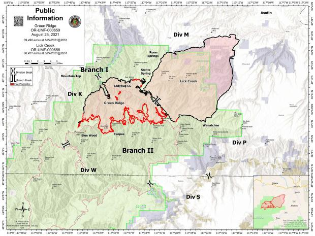 August 25 map showing the perimeter of the Green Ridge and Lick Creek Fires
