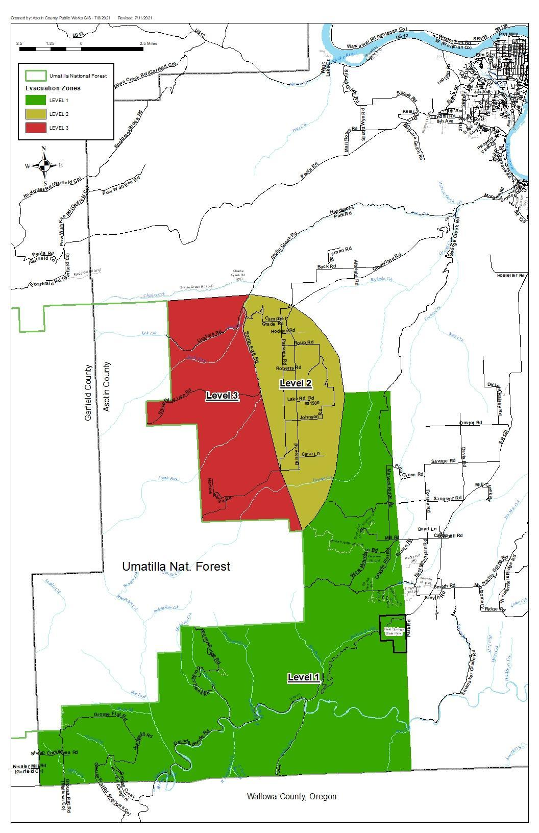 A map from Asotin County Emergency Management showing evacuation zones for the Dry Gulch Fire