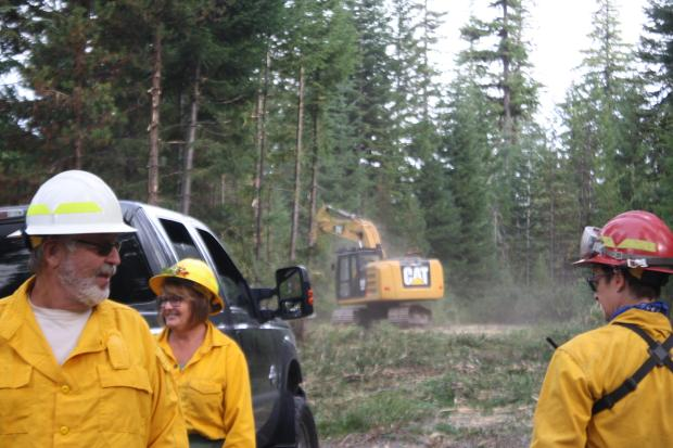 Masticator and Fire Crew on the Fireline
