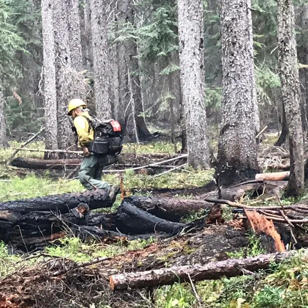 Firefighter patroling the fireline checking for hot spots