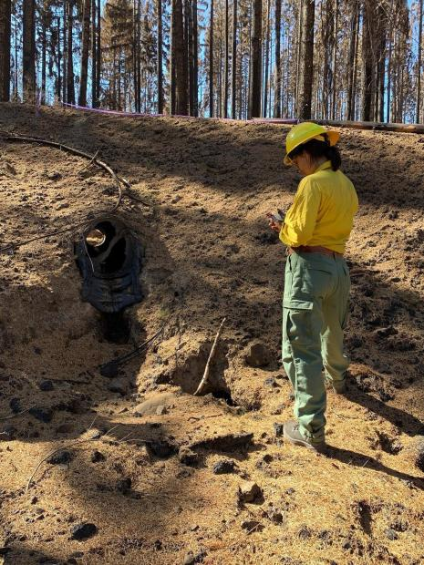 BAER Team Hydrologist Leah Tai assesses a melted plastic culvert on the Lionshead Fire