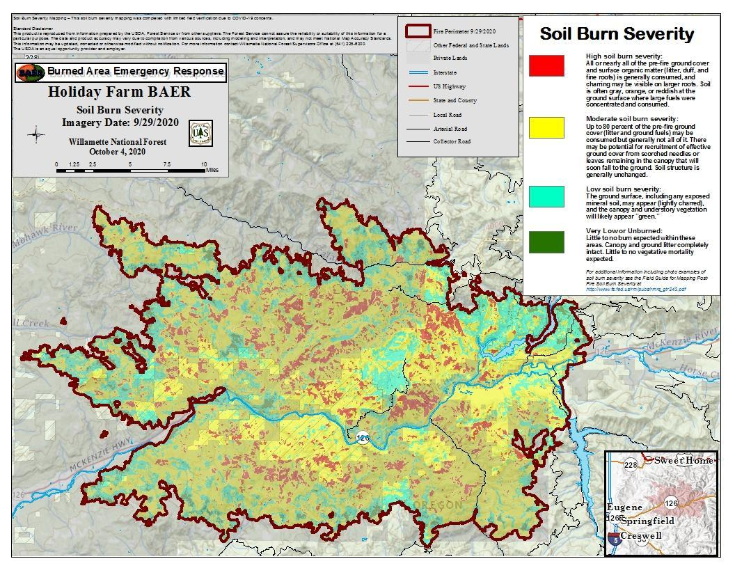Soil Burn Severity map of the Holiday Farm Fire