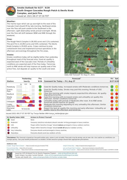 Smoke Outlook for August 27-28, 2021