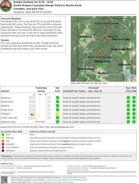 smoke outlook, Sunday, Sept 19, clear skies