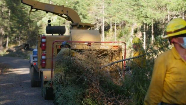 cut vegetation removed for fireline is put into a chipper on the big hamlin fire, 9/20