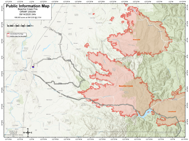 Beachie Creek Fire Information Map for Sept. 14 2020