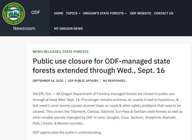 Oregon Dept. of Foresty Public Use Closure Extended Through Sept 16