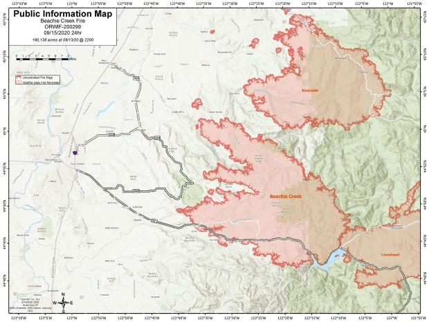 Beachie Creek Fire Information Map for Sept. 15, 2020