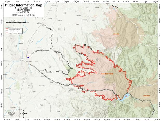 Beachie Creek Fire Information Map for Sept. 16, 2020