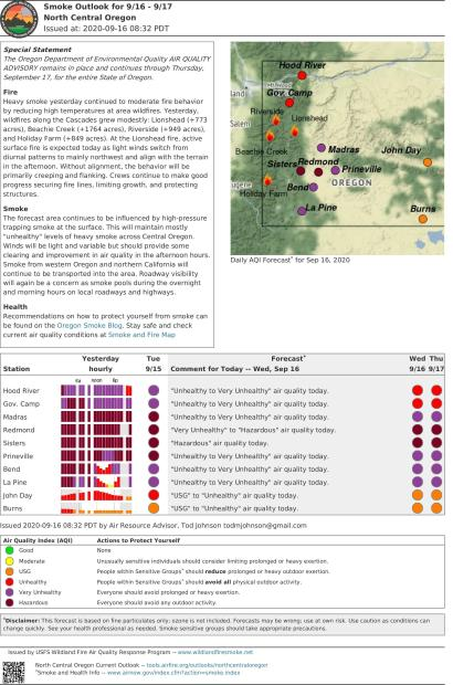 Smoke Outlook for NC Oregon Sept 16-17