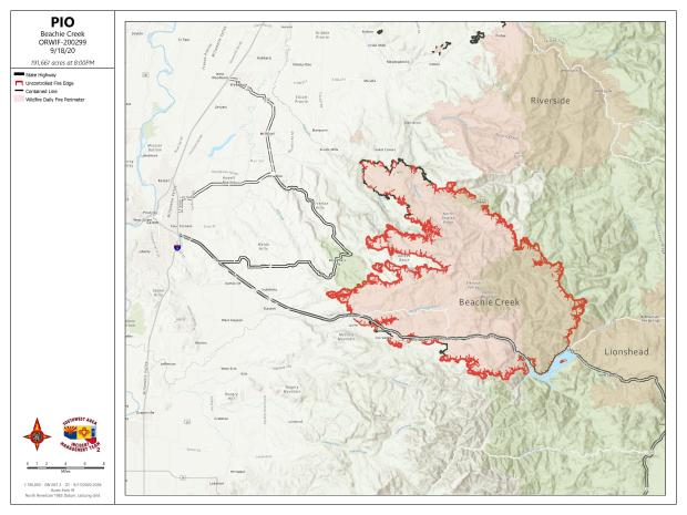 Map of Beachie Creek Fire on Sept 18, 2020