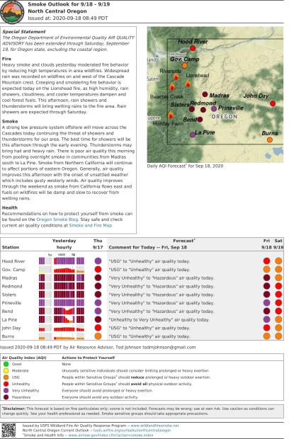Smoke Outlook for Northcentral Oregon 09182020