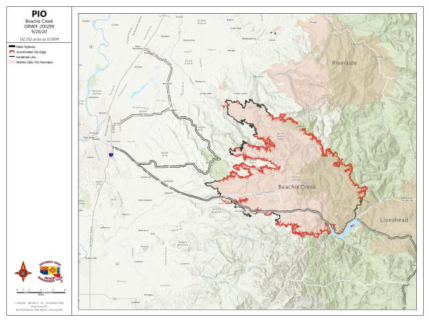 Map of the Beachie Creek Fire Perimeter 9/20/2020