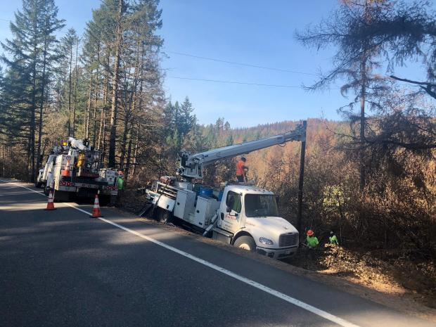 Powerline repair underway near Highway 22
