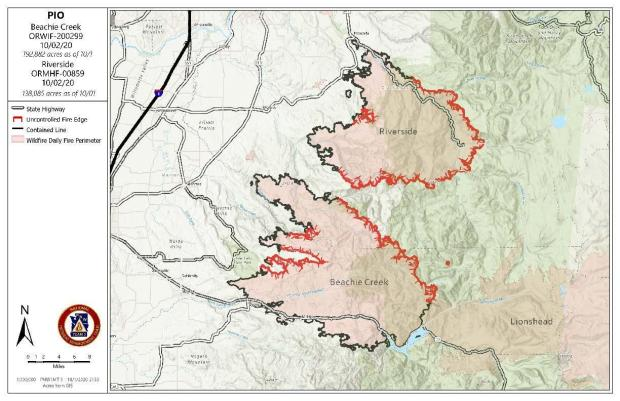 Map of Beachie Creek Fire