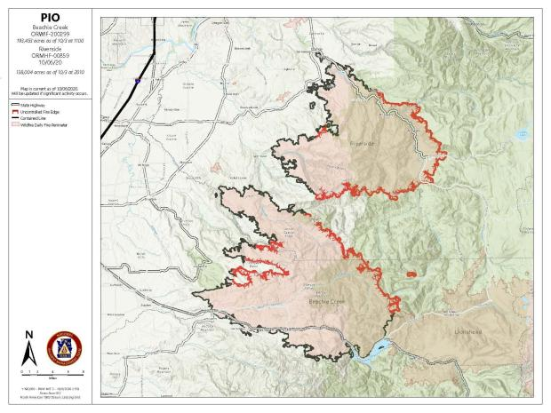 Map of Beachie Creek Fire 10/06