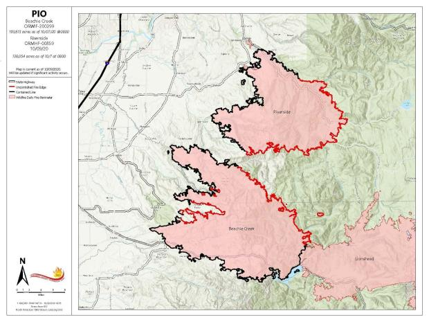 Map of Beachie Creek Fire 10-08-20