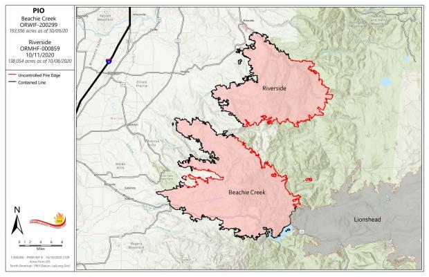 Map of Beachie Creek Fire 10-11-20