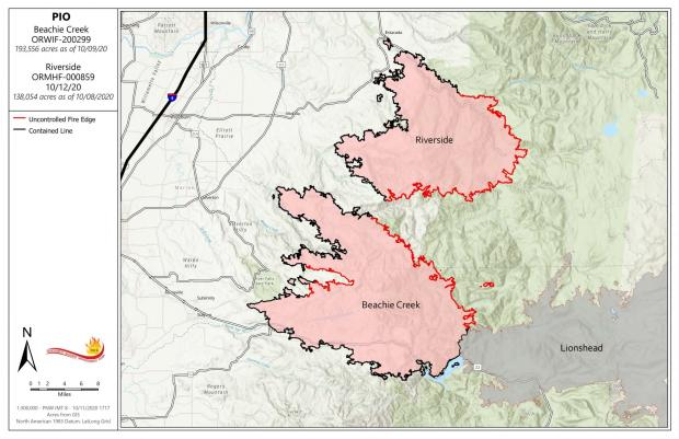 Map of Beachie Creek Fire 10-12-20