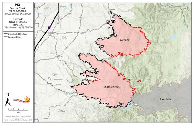 Map of Beachie Creek Fire 10-13-20