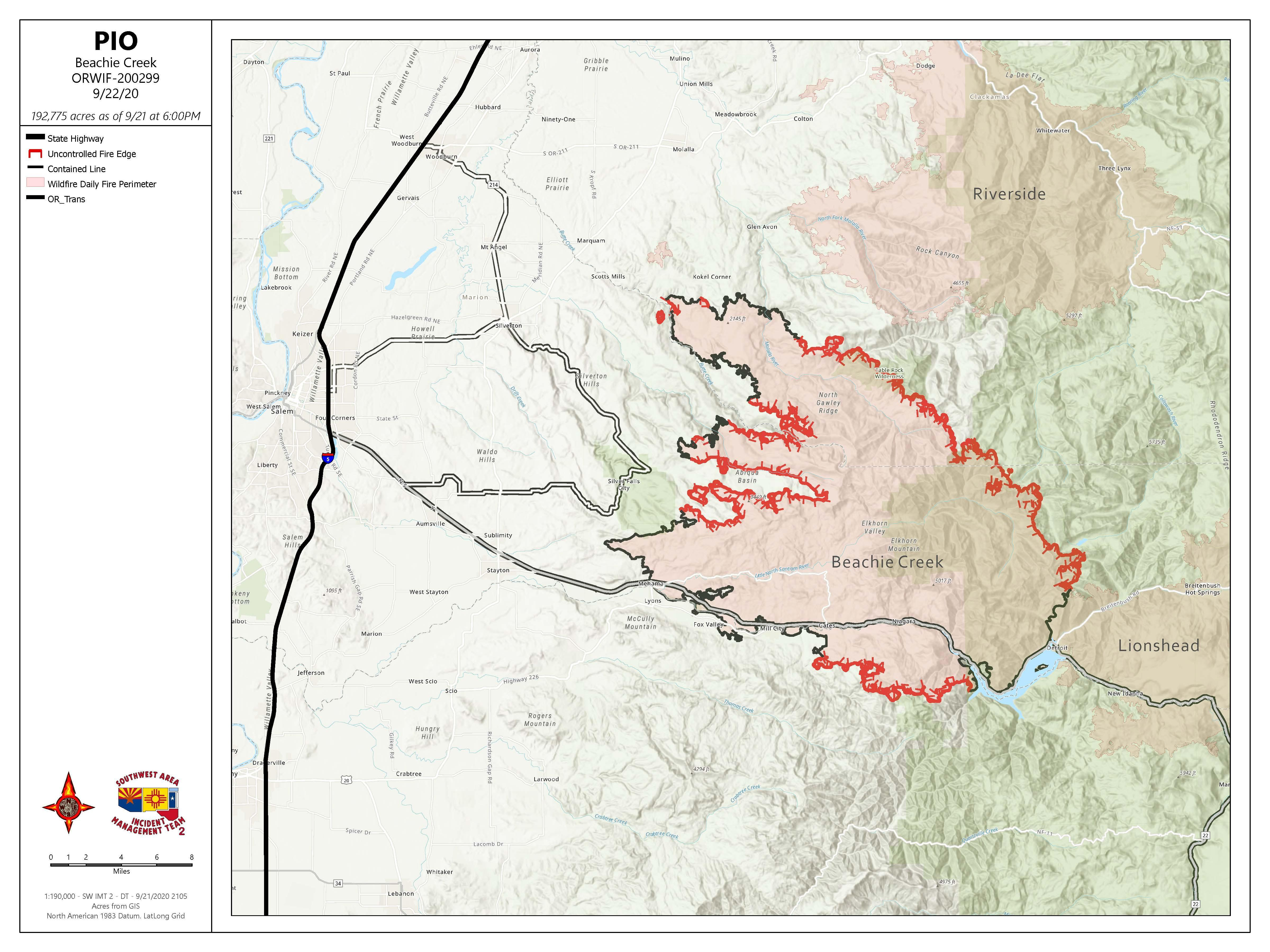 Map of Beachie Creek Fire Perimeter on Tuesday, September 22, 2020